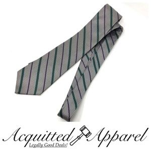 YSL Yves Saint Laurent Silk Striped Tie Silver